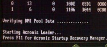 kui arvuti ei laadi üles, vajuta F11 -acronis startup recovery