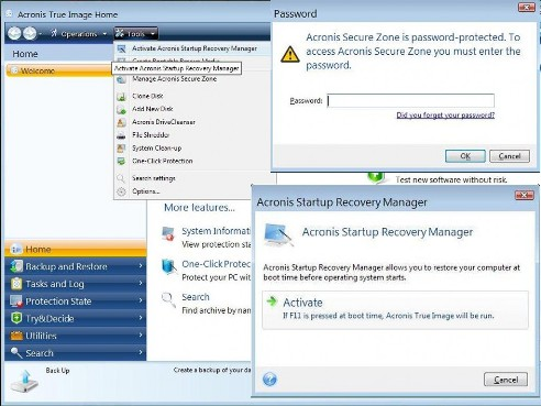 acronis startup options