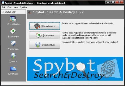 Spybot – Search & Destroy, tuntud ja tasuta tõrjeprogramm