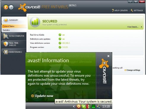 Problem with updating Avast Virus Definitions