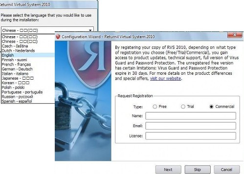 virtual system registration