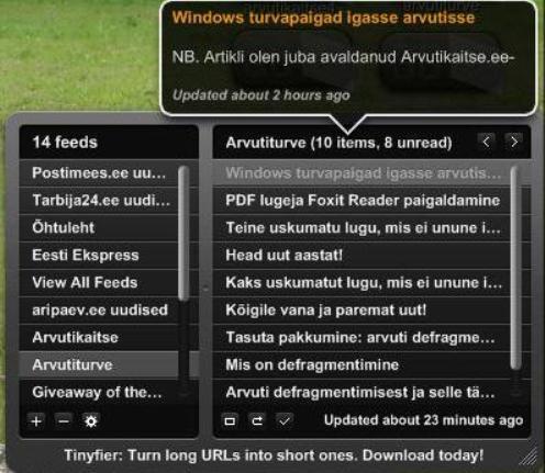 RSS vood ekraanile Yahoo Widgets abil