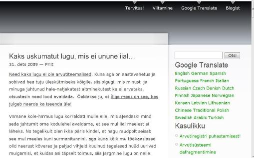 Google tõlge eesti keelde