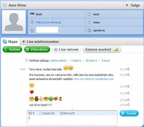 suhtlusprogramm ja internetitelefon Skype