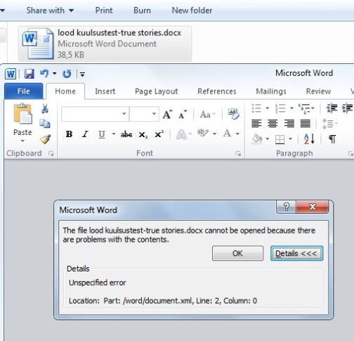 Microsoft word errors