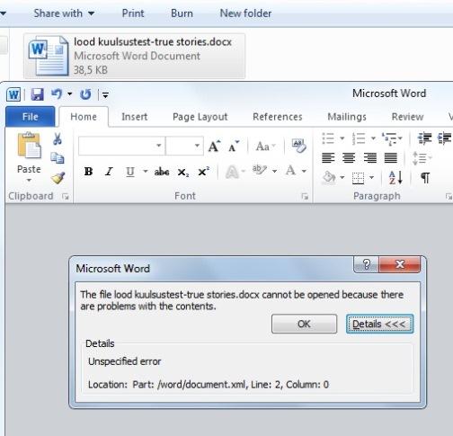 Microsoft word errors