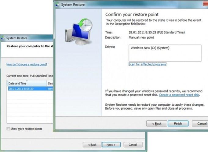 süsteemi taastamine Windows 7
