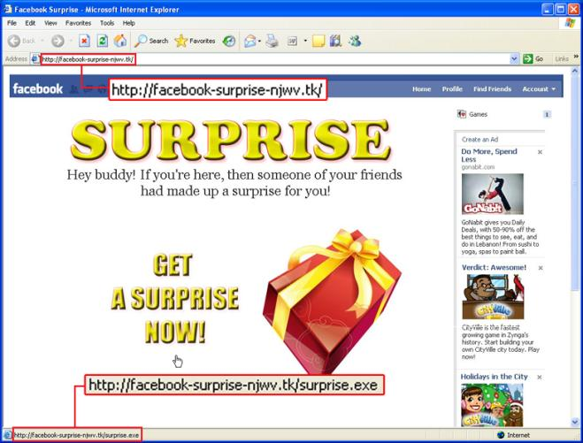 Facebook fake site