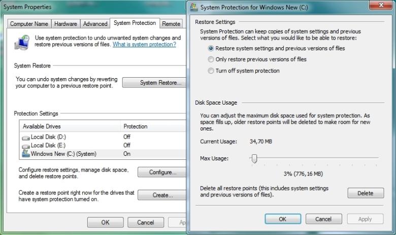Windows 7 ja Vista süsteemitaaste
