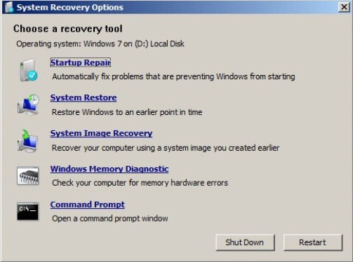 Repair Windows 7 Boot Problems