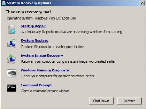 Repair Windows 7 Boot Problems