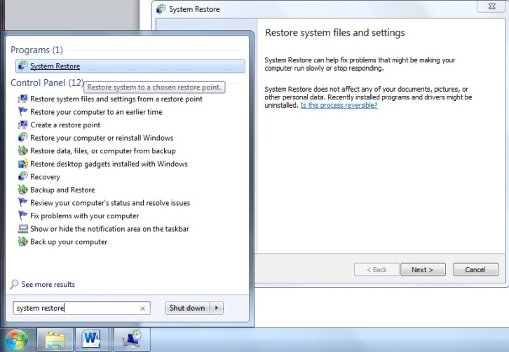 Windows 7 and Vista system restore