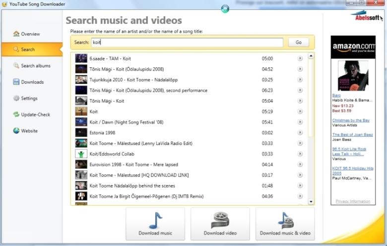 Youtube`st videote, muusika, laulude tirimine