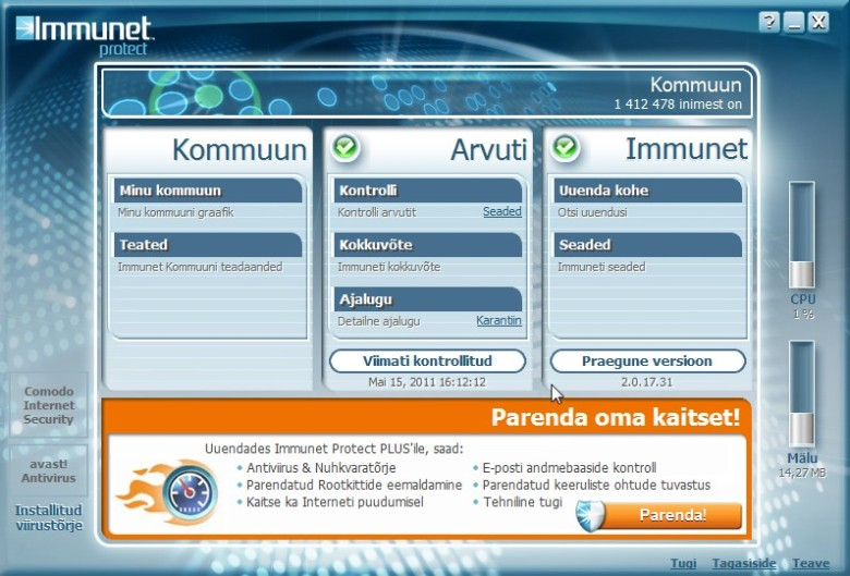Freeware antivirus Immunet Protect