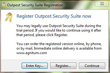 Outpost security suite registreerimine