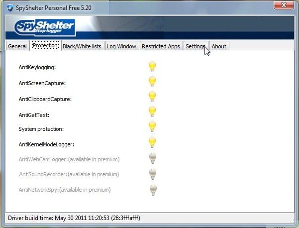 Freeware anti keylogger SpyShelter Personal Free