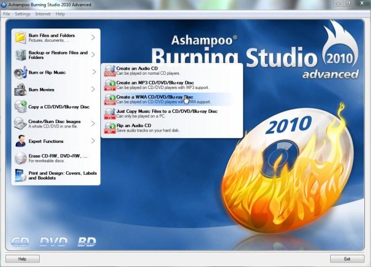 MP3 WMA muusika ja AVI MOV filmide kõrvetamise programm