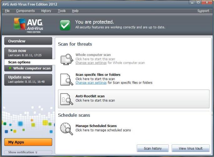 Viirusetõrje AVG Anti-Virus Free uus 2012 a. versioon – installeerimine ja funktsioonid (4/6)