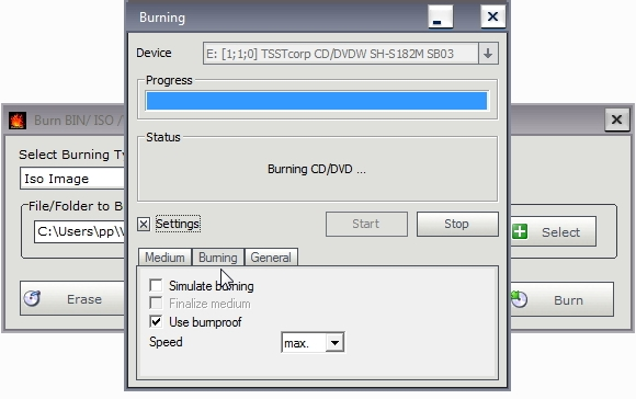 How to burn BIN CUE files and boot ISO files to CD DVD