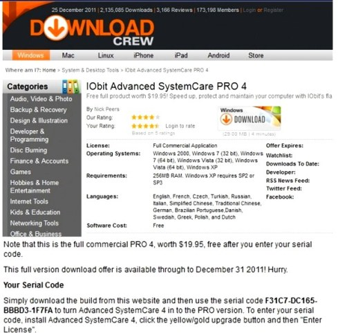 Advanced SystemCare 4 legal serial code