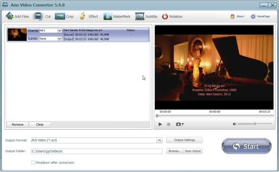 Videote konvertimine, logo või vesimärgi lisamine