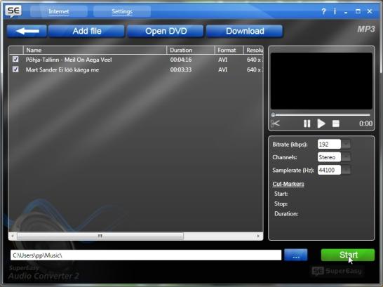 Videotest muusika eraldamine eraldi audiofailiks