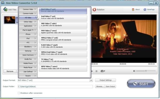 Videote teisendamine tesitesse failidesse või videost muusika eraldamine.
