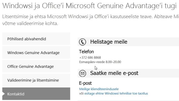 Microsoft Eesti telefon