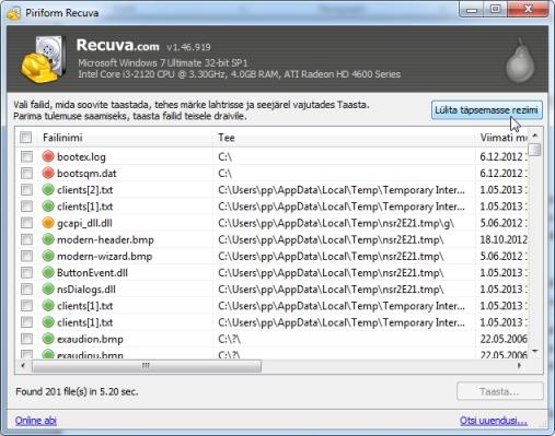 Kustutatud failide taastamine väliselt kõvakettalt või MP3 mängijalt
