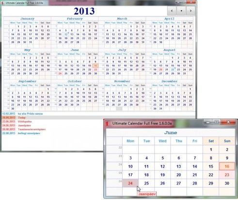 Kalender terve aasta kohta või kuu järgi