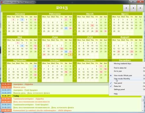 Aasta kalender või kuu kalender ekraanile