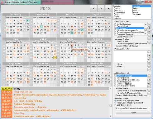 Rahvusvaheline ja rahvuste kalender arvutisse