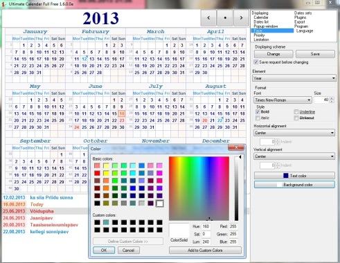 Terve aasta kalender arvutisse