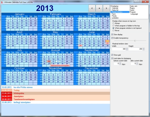 Year calendar free to desktop