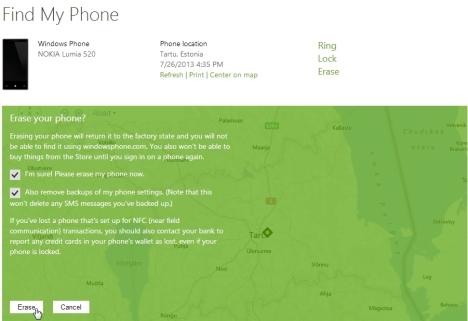 Nutitelefoni sisu hävitamine varguse või kadumise korral
