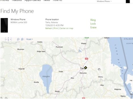 Telefoni leidmine kaardilt kadumise korral