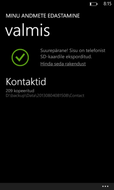 Windows Phone kontaktid tagavaraks