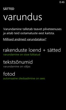 Windows Phone seaded ja andmete varundamine