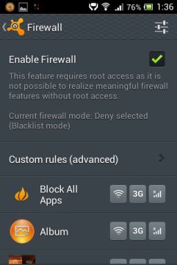 Android firewall with antivirus